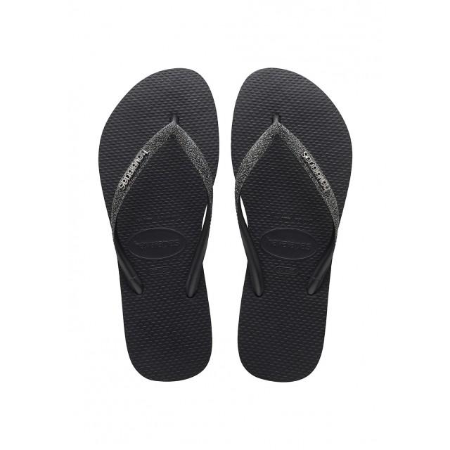 HAVAIANAS SLIM GLITTER II Black / dark grey metallic