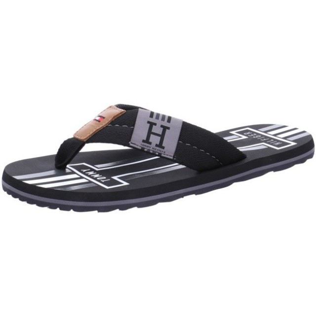 TOMMY HILFIGER SLIPPER BADGE TEXTILE BEACH SANDAL black