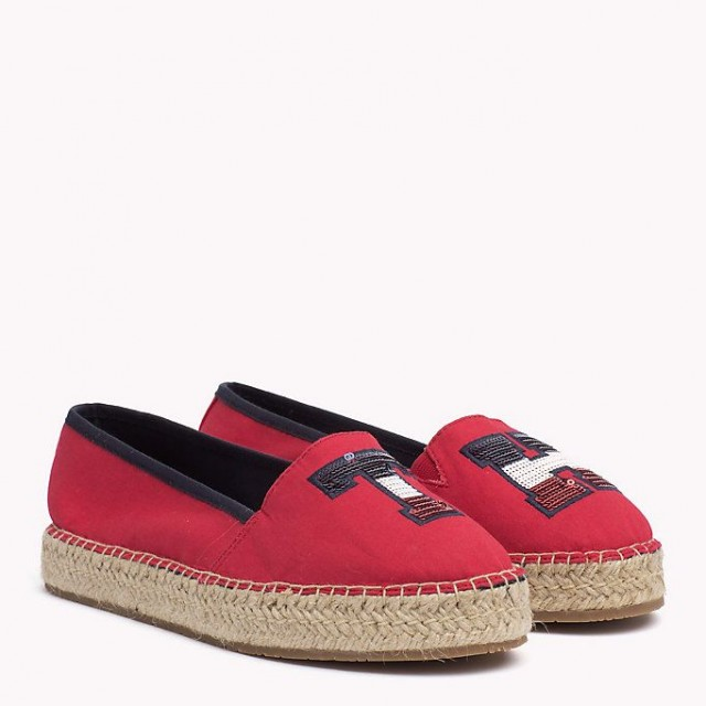 TOMMY HILFIGER ESPADRILLE LOGO tango red