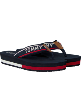 TOMMY HILFIGER JEANS SLIPPER MET PLATEA ZOOL Red blue white