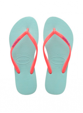 HAVAIANAS KIDS SLIM LOGO POP UP Ice blue / coral new